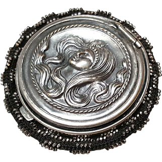 Tam O Shanter coin purse Art Nouveau Lady Flowing hair black pinwheel star with cut steel silver beads patent march 25 1890