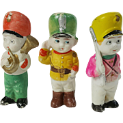 Three all bisque doll immobiles marching band soldiers boy figures toys Made in Japan partial box Eclipse NY importer 3.5 inch