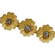Vintage gold finish doll size rhinestone pin three flower petals glass rhinestone center tiny 1 1/8  with a C clasp