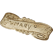 Vintage name MARY pin scroll design gold finish C clasp doll size accessory 1 3/8 inch