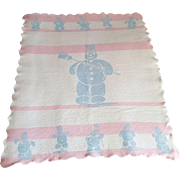 Vintage Esmond baby infant doll blanket Snowman pink white and blue tophat snowman image with broom shovel cane flag 30 x 40 inch