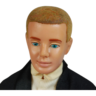 Vintage Ken blonde flocked hair Mattel doll tagged Tuxedo Date number 787  black suit white shirt