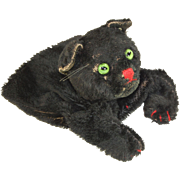 Steiff black cat mohair vintage hand puppet green eyes much loved Steiff button in ear no tags no whiskers