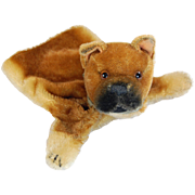 Steiff Bulldog hand puppet vintage mohair toy dog brown tan black