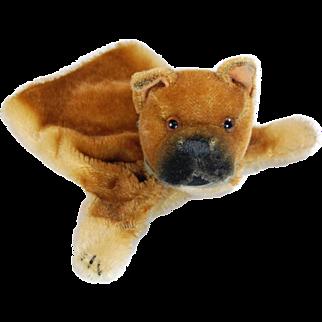 Steiff Bulldog hand puppet vintage mohair toy dog brown tan black