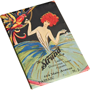 Art Deco celluloid pocket mirror woman with parrot flapper advertising The Strand Shop women's apparel Passaic NJ