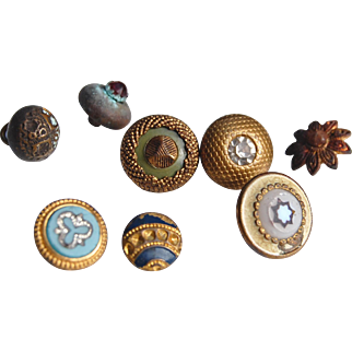 Collection 8 tiny old metal buttons gold finish rhinestone stud enamel flower for doll costumes 5/16  up to 1/2 inch