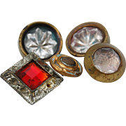 Collection 5 old small  buttons clear and red glass and gold brass finish enamel metal TLC pretty buttons