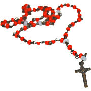 Tiny doll rosary vintage faux coral beads 5/8 inch brass cross crucifix  INRI
