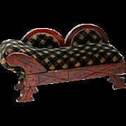 Antique doll fainting couch sofa Eastlake original upholstery black and tan velvet velveteen diagonal plaid 10 inch