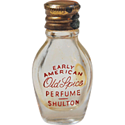 Miniature 1 3/8 inch perfume scent glass bottle and lid Early American Old Spice Perfume Shulton