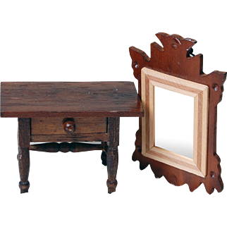 Vintage dollhouse Concord Miniatures hall side table and wall mirror wood made in Japan