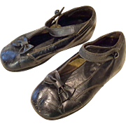 Vintage black leather ankle strap shoes with black shoe button and button hole fit for large dolls TLC   5.5 inch