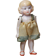 All bisque doll Germany 2.25 inches wire jointed blonde little girl original penny doll