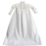 Antique infant baby doll long sheer cotton linen gown hand sewn drawn thread wide hem 32.5 L