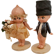 Vintage celluloid Kewpie doll bride with bouquet and groom in top hat cake toppers original 3.25 inch