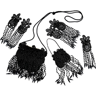 Antique black beaded purses flapper handbags with matching dress appliques heavily beaded black faceted jet glass beads fringe art deco flapper