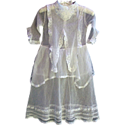 Antique white embroidered net lace sheer netting dress for minor repair or fabric lace doll costumes 36.5 inches length