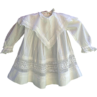 Antique lacy white baby or doll dress 17 inches length