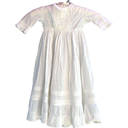 Old vintage long white baby or doll gown with lace pin tucks embroidered smocking 26 inches