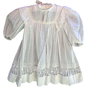 Antique lacy white baby or doll dress 19 inches length