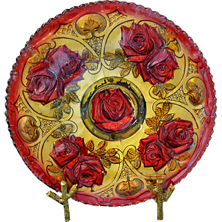 Goofus glass Roses in the Snow Indiana EAPG red and gold plate 11 inches