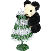 Vintage Steiff Panda bear miniature 3 inch bendable mohair black and white with button,  HTF VG no tag  0250/11