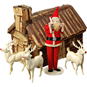 1940's standing Santa Claus and three reindeer white celluloid or hard plastic vintage Christmas ornaments decor