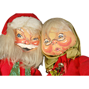 Vintage 1960's Annalee  Mobilitee Large Santa and Mrs Claus holiday early painted felt cloth dolls 28 and 29 inch