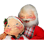 Large Annalee Santa Claus and Mrs Claus card holders 1980's vintage cloth holiday dolls Meredith NH tagged copyright 1966-1969