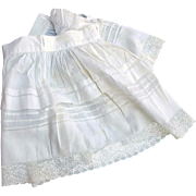 Antique petticoat large doll slip lacy white pin tucks buttonhole waistband for camisole 11 length  21 waist