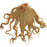 Antique French doll wig long blonde human hair bangs center hair medallion gauze wig cap 11 inch circ.