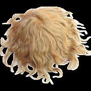Vintage blonde mohair doll wig center hair part short bangs mesh wig cap needs styling 10 inch head circ.