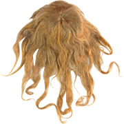 Antique doll wig long medium blonde human hair with short bangs from crown worn gauze wig cap sparse hair needs styling 10 - 10.5 circ.