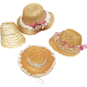 Collection of four vintage straw doll  hats poke bonnets with lace ribbons trims