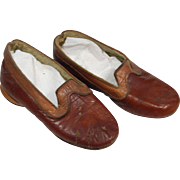 Pair vintage childrens leather slippers brown and tan two-tone flannel lined soft leather soles TLC  large dolls