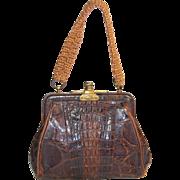 Antique crocodile skin purse child size petite 4.5 inch handbag brass frame leather lining  Feb 27  1900 patent small vintage bag