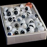 Vintage blown glass doll eyes 35 singles BLUE grey spiral doll hospital doll repair Germany West Germany