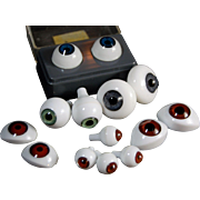 Selection doll eyes for repair crafts BJD dolls pair West Germany Puppenaugen glass and Glastic Japan plastic pairs