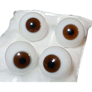 Vintage doll eyes blown glass BROWN 2 matched pair doll repair restore hospital supply 20 cm West Germany