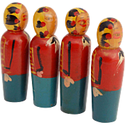 Vintage Skittle American Indian dolls four tiny 1 7/8 inch dolls turned wood swaddled papoose baby figures hand painted figures American Indian tribal souvenirs