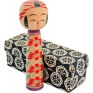 Vintage Kokeshi doll mint in box Japanese turned wood painted doll made in Japan artist signed 6 inch