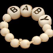 Vintage doll bracelet white printed beads BABY hospital wrist bracelet thread strung non-elastic two side black lettering 3.25 circ.