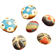 Six tiny antique buttons for doll clothes dainty .25 inch fabric covered buttons plus  3/8 inch painted enamel on gold tone metal