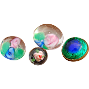 Tiny antique glass buttons rose paperweight glass overlay buttons floral aventurine bezel for doll costumes accessories dresses