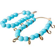 Antique blue glass doll necklace bracelet cord strung faux turquoise beads with gold tone metal figure 8  spacers  5.5 inch and 4 inch