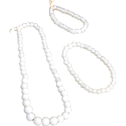 Vintage doll necklace bracelet white glass beads three pieces graduated beads sizes cord strung