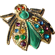 Tiny bee pin for dolls rhinestone enamel goldtone .75 inch