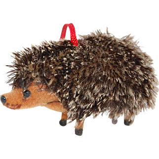 Vintage Hedgehog Wagner Handwork West Germany flocked and mohair fuzzy porcupine  doll toy  3 inches