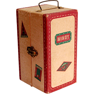 Vintage doll travel trunk MINDY embossed paper covered doll case Paris London Venice tourist stickers 9 inch tall